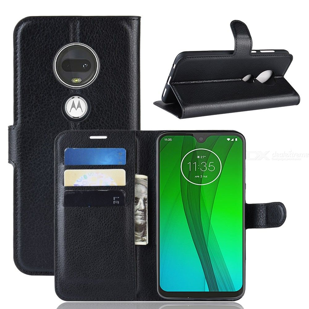 PU Leather Full Cover Wallet Case Holder for Moto G7 / G7 Plus Phone Preotection