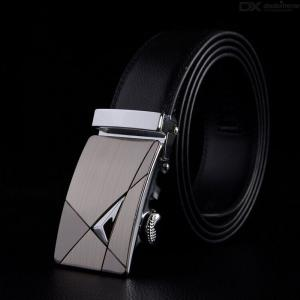 Mens Genuine Leather Belt Real Leather Dress Belt With Automatic Buckle 120cm