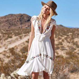 Womens Bohemian Style Dress Sexy Plunge Neck Embroidered Dress