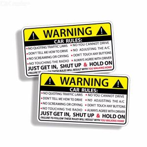 2PCSSet Car Warning Car Rules Stickers Reflective Safety Sign For Vehicles 102 X 57cm