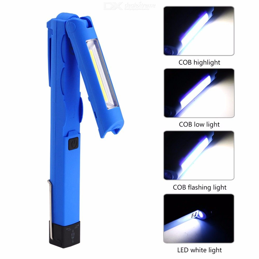 COB LED Work Light, Rechargeable Work Lights with Hook Magnetic Base 180° Rotate 4 Modes Super Bright LED Flashlight
