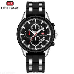 MINI FOCUS MF0273G Multifunction Quartz Wristwatch Luminous Casual Business Watch With Silicone Strap For Men