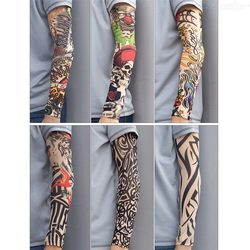Breathable Elastic Tattoo Arm Sleeve UV Protection Cycling Armguard Cover - Single