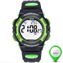 OTS Digital Sports Watch Waterproof Luminous Thermometer Alarm Clock Wristwatch With Rubber Strap For Children