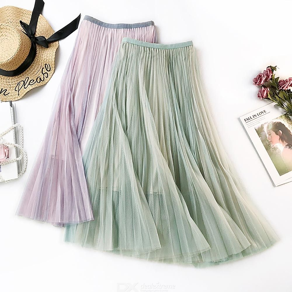 womens mesh pleated dress casual sweet midi dress for daily wear