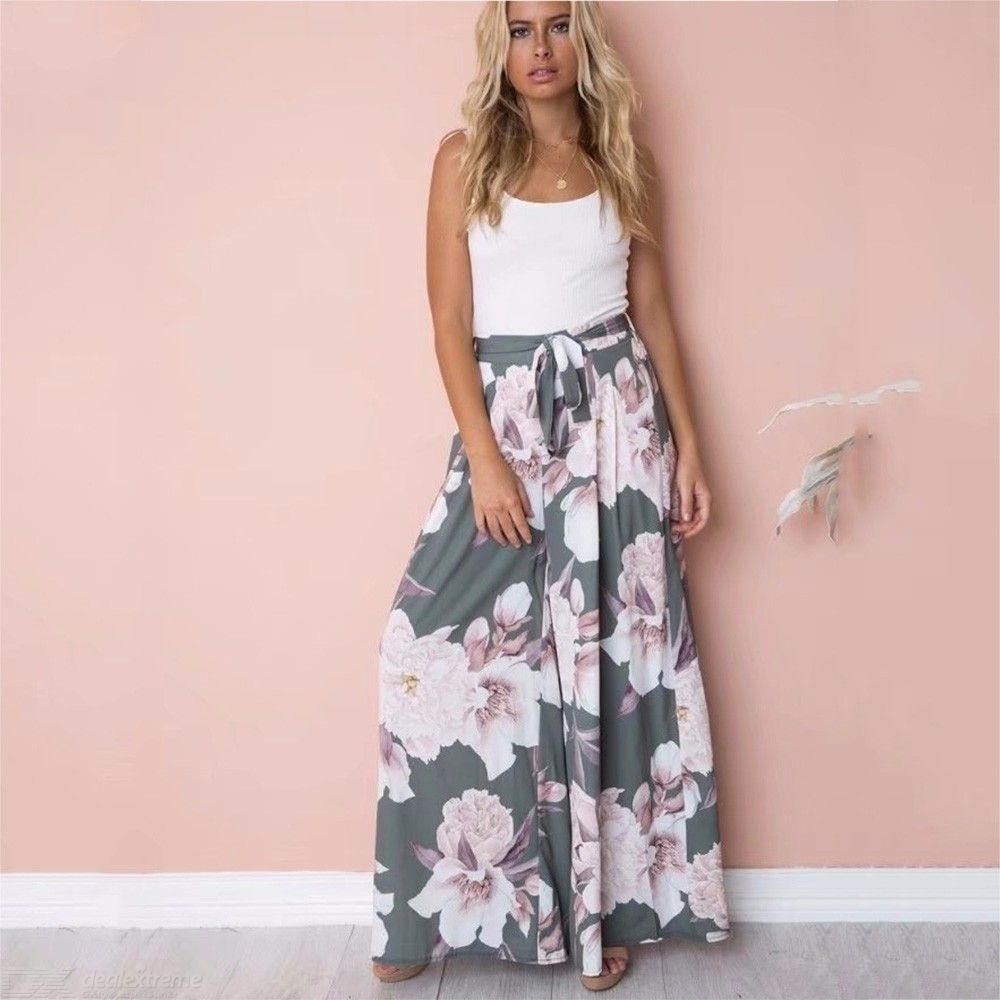 Womens Wide Leg Pants Casual Draped Floral Print Trousers
