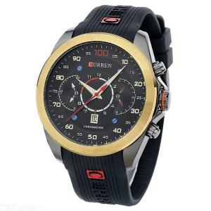 CURREN 8166 Casual Business Watch Calendar Quartz Wristwatch With Silicone Strap For Men