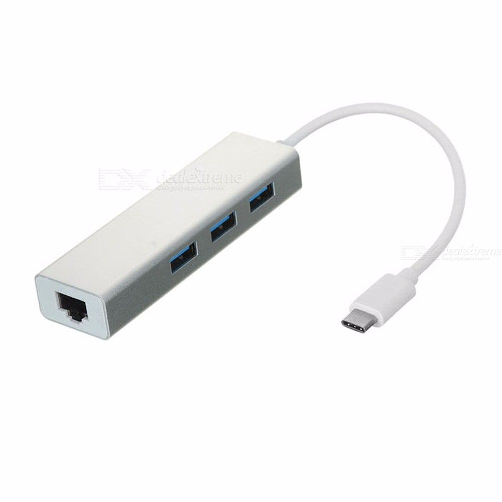 USB 3.1 Type C To RJ45 1000M Network Adapter  USB 3.0 Hub - Silver