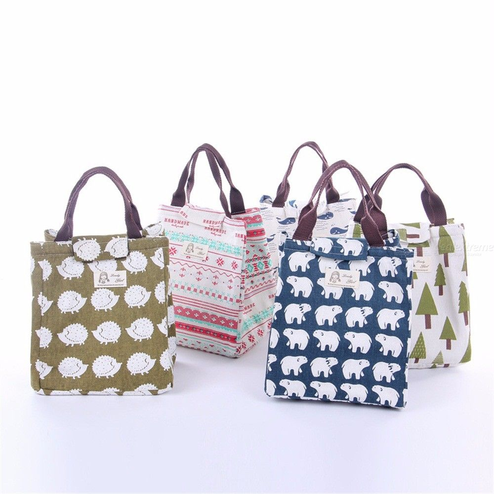 Cute Insulated Bag Cartoon Canvas Lunch Bags Large Capacity Handbags Outdoor Picnic Tote