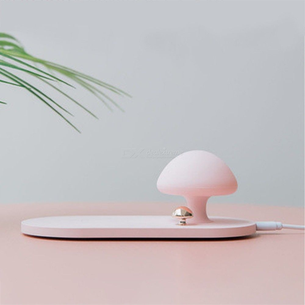 USB LED Light, Mushroom Shape Table Lamp With Wireless Charging Pad For IPhone X Sumsung S10