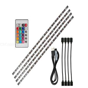 4x50cm Black USB 5V Powered LED Strip Lights, Waterproof CE-Listed RGB LED Strip with RC