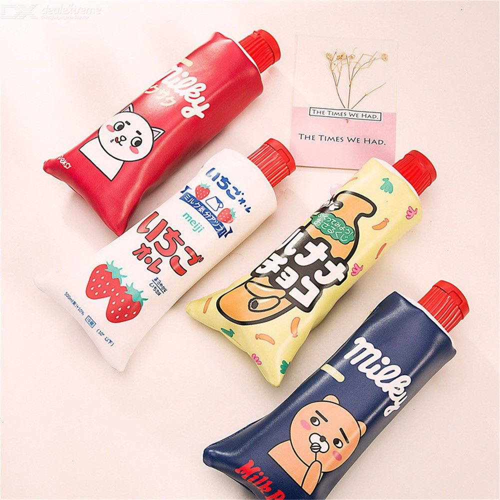 Pencil Case Kawaii Stationery Cartoon Toothpaste Shape Pencil Pouch With  Large Capacity