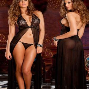 Sexy Backless Lingerie Robe Long High-slit Halter Dress Lace Nightdress With Thong For Women