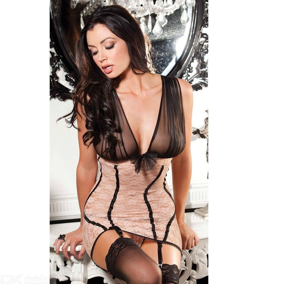 c9b413663 Womens Sexy Lingerie See-through Patchwork Lace Babydoll - Free ...
