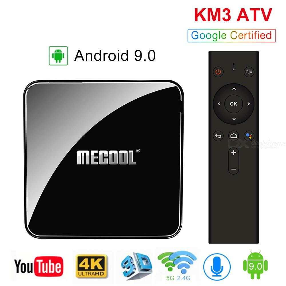 MECOOL KM3 ATV Android 9.0 TV Box Google Certified 4GB 64GB Amlogic S905X2 4K 2.4G 5G Dual Wifi BT4.0 Set