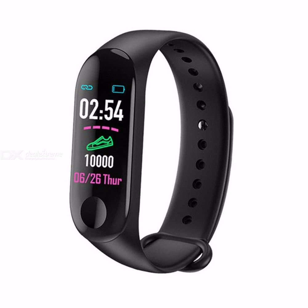 M3 Smart Bracelet Color-Screen IP68 Fitness Tracker Blood Pressure Heart Rate Monitoring Smart Watch