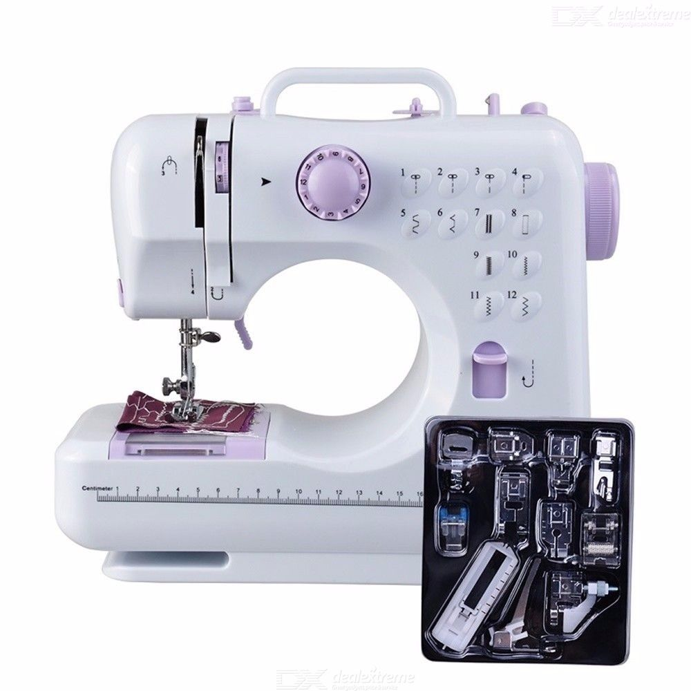 Fanghua 505A Mini 12 Stitches Sewing Machine Household  Electric  Mending Machine - White And  Purple
