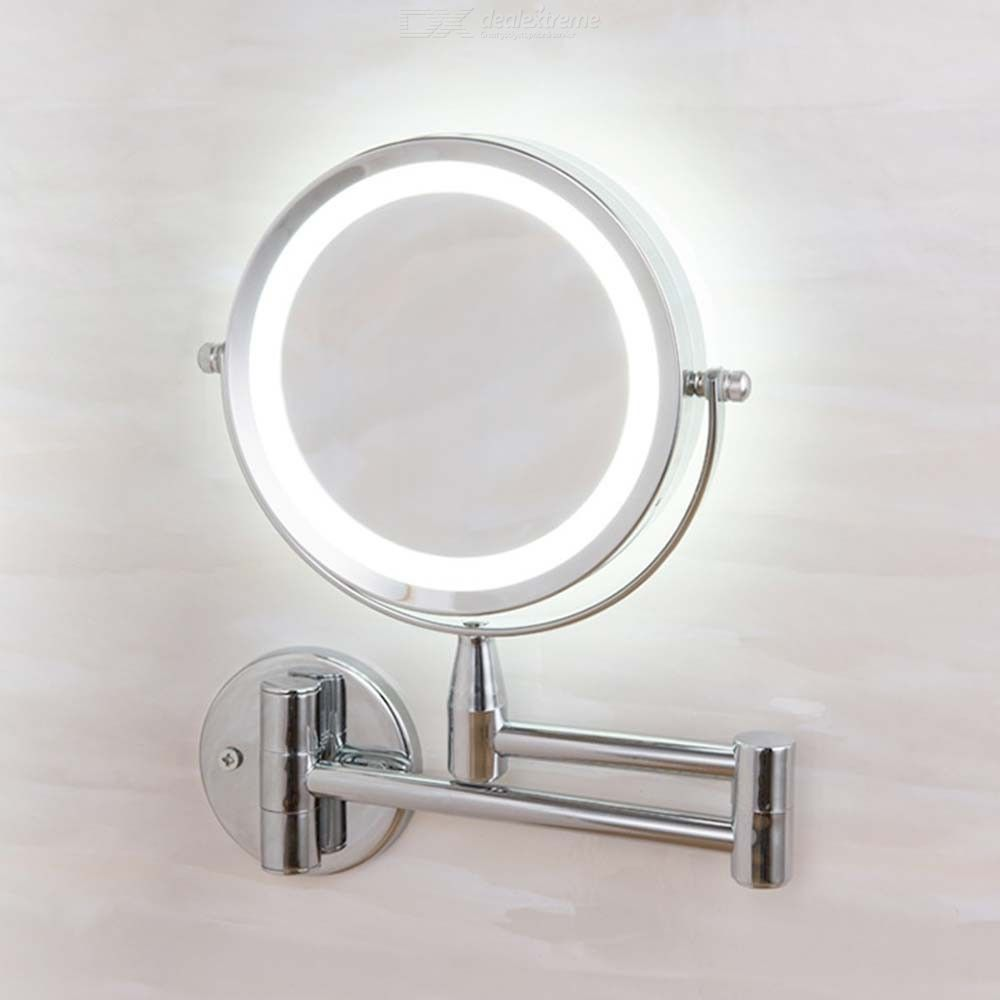Bath Mirror Led Cosmetic Mirror 1X3X Magnification Wall Mounted Adjustable Makeup Mirror Dual Arm Extend 2-Face