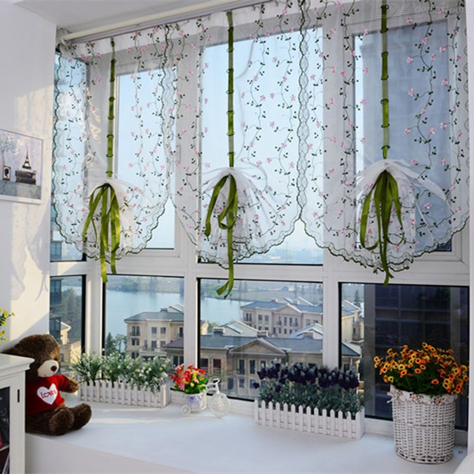 Pastoral Tulle Roman Blinds Embroidered Sheer For Kitchen Living Room (0.81m)