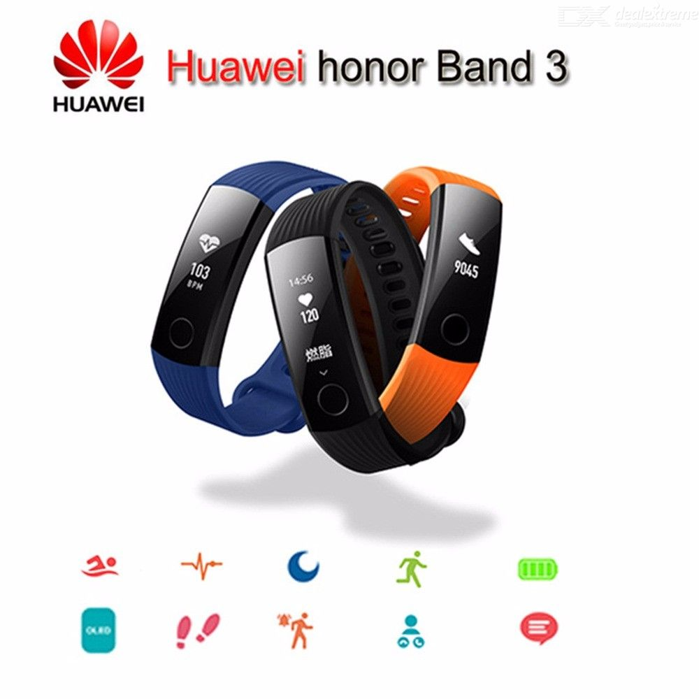 Huawei Honor Band 3 Smart Bracelet Fitness Tracker With 24 Hours Heart Rate Monitor Message Reminder