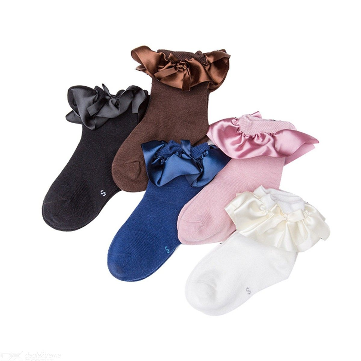 5 Pack Girls Princess Style Socks Cute Breathable Short Socks With Bow Ribbon