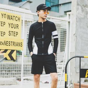 Mens Long Sleeve T-Shirt And Shorts Swimming Set, Fashional Casual Suit For Summer Beach
