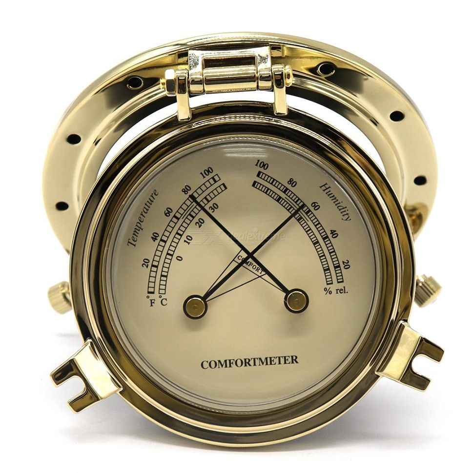 B3763TH-G Golden Roman Temperature and Humidity Meter for Marine RV Yacht Car