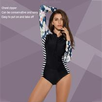 One-Piece-Swimsuit-Long-Sleeve-Front-Zipper-Surf-Suit-UV-Protection-Swimwear-For-Women