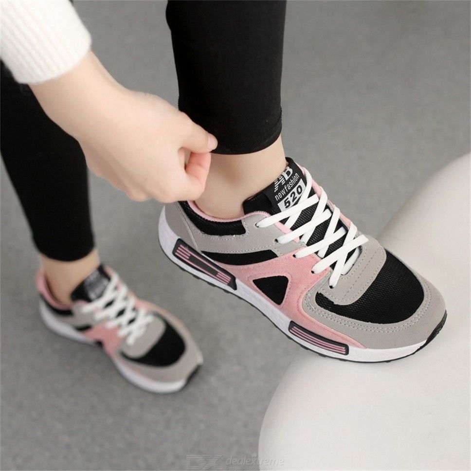 Breathable Stitching Color Sneaker Lace-up Casual Shoes For Women