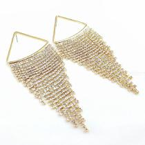 Rhinestone-Tassel-Stud-Dangle-Earrings-For-Womens-Clothing-Accessories-Gold