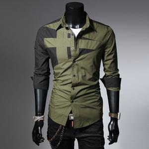 Long Sleeve Patchwork Lapel Shirts Casual Cotton Top For Men