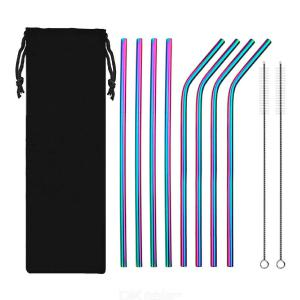 10PCSSet Stainless Steel Straws Reusable Rainbow Drinking Straws