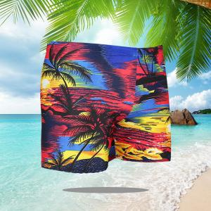 Elastic Swim Trunks Beach Shorts Coconut Tree Print Swimming Pants For Men