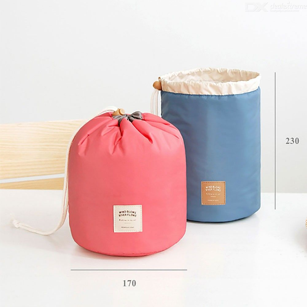 Multifunctional Cosmetic Bag Cylinder Waterproof  Storage Bag With  Large Capacity  And  Pumping Rope  For  Travel