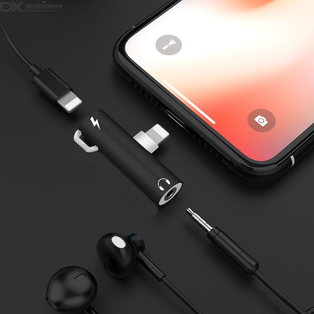 2 in 1 Lightning Charge and Listen to Music 3.5mm Headphone Adapter with key ring  for iphone X XR XS Max 7 8 Plus