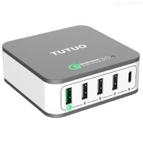 TUTUO-5-Port-USB-Wall-Charger-with-QC-020PT-QC-30-USB-C-for-iPhone-Android-Smartphone