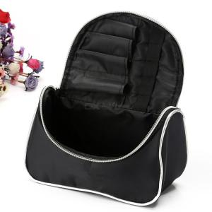 Portable Nylon Cosmetic Bags Large Capacity Makeup Storage Bag - Black