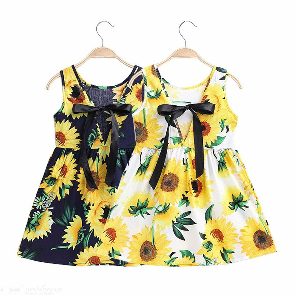 Girls Sunflowers Dress Comfort Floral Print Mini Dress For Toddler