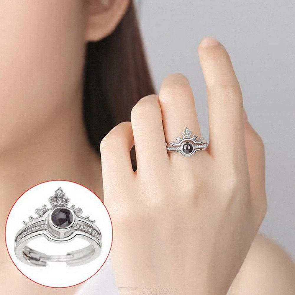 S925 Siver Plated Princess Crown Ring, 2 In 1 One Hundren Languages, Loves Memories Rings For Women Gift Wedding