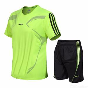 Summer Fashion Quick  Drying Leisure Sports Suit  With  Printed  Short  Sleeve  For  Men -  Large  Size
