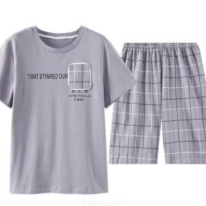 Mens Short-sleeved Cotton Housewear Summer Style Round-Collar Simple Casual Pajama Suit