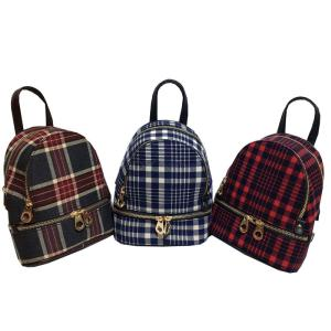 13 Inch Stylish Plaid Striped Backpack Fashion Zipper Travel Bag