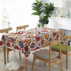 1PC Ethnic Style Cotton  Linen Lacework Dining Tablecloth Multi Functional Table Cloth 90x90cm90x140cm