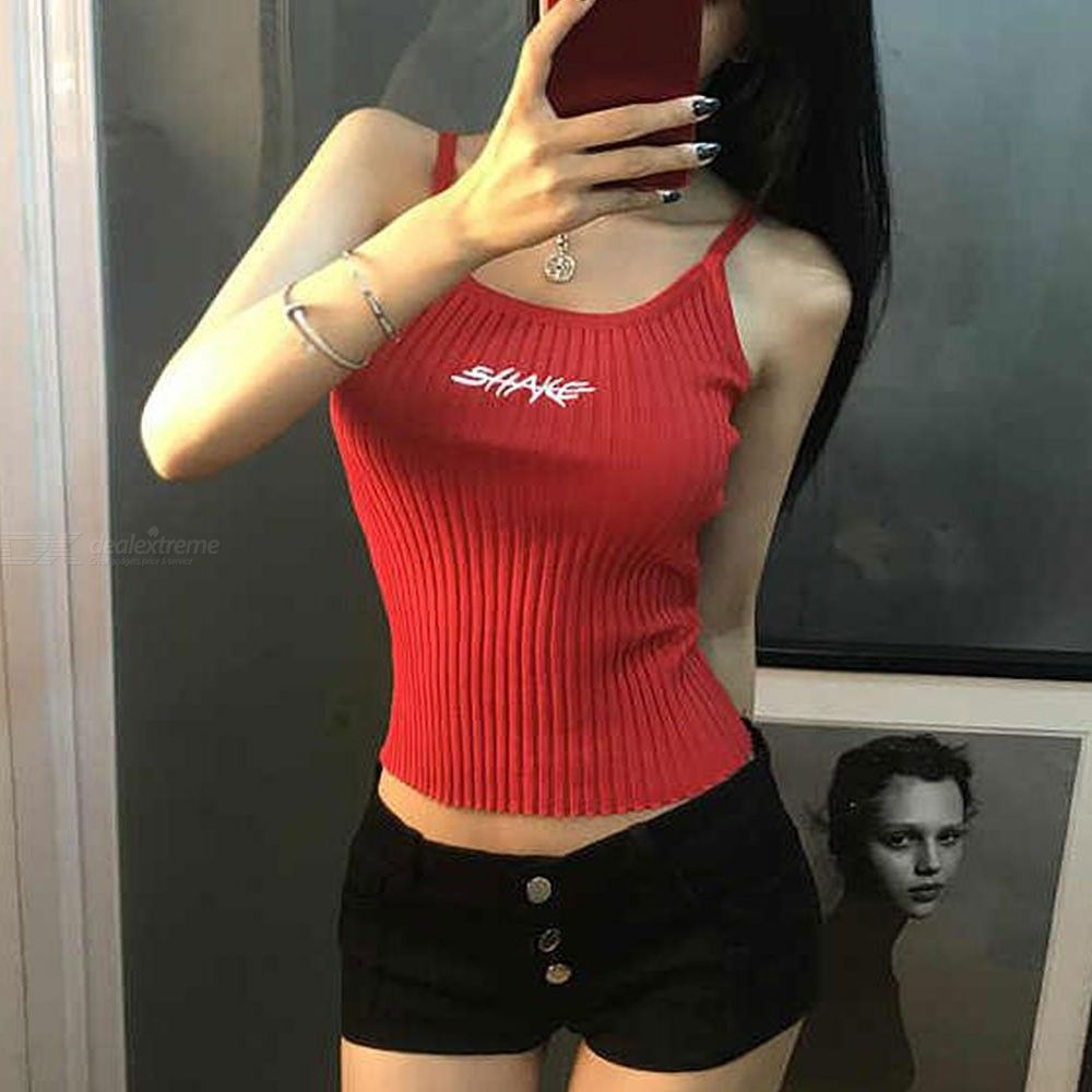 Spaghetti Strap Knit Vest Sleeveless Pullover Sweaters For Women