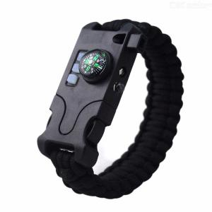 AK17 Emergency Paracord Bracelet Tactical Survival Gear Rechargeable Braided Compass Bracelet With SOS LED Flashlight