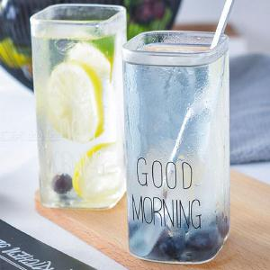 400ml Single Layer Square Milk Breakfast Cup Creative Transparent  Glass Simple Letter Milk Juice Mug