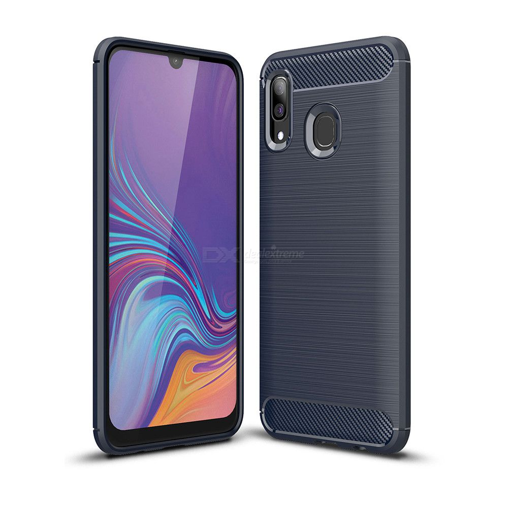 Naxtop Carbon Fiber Brushed Soft TPU Non-slip Back Cover Case Protective for Samsung Galaxy A40  A405