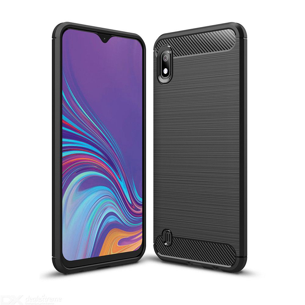 Naxtop Carbon Fiber Brushed Soft TPU Non-slip Back Cover Case Protective for Samsung Galaxy A10  A105
