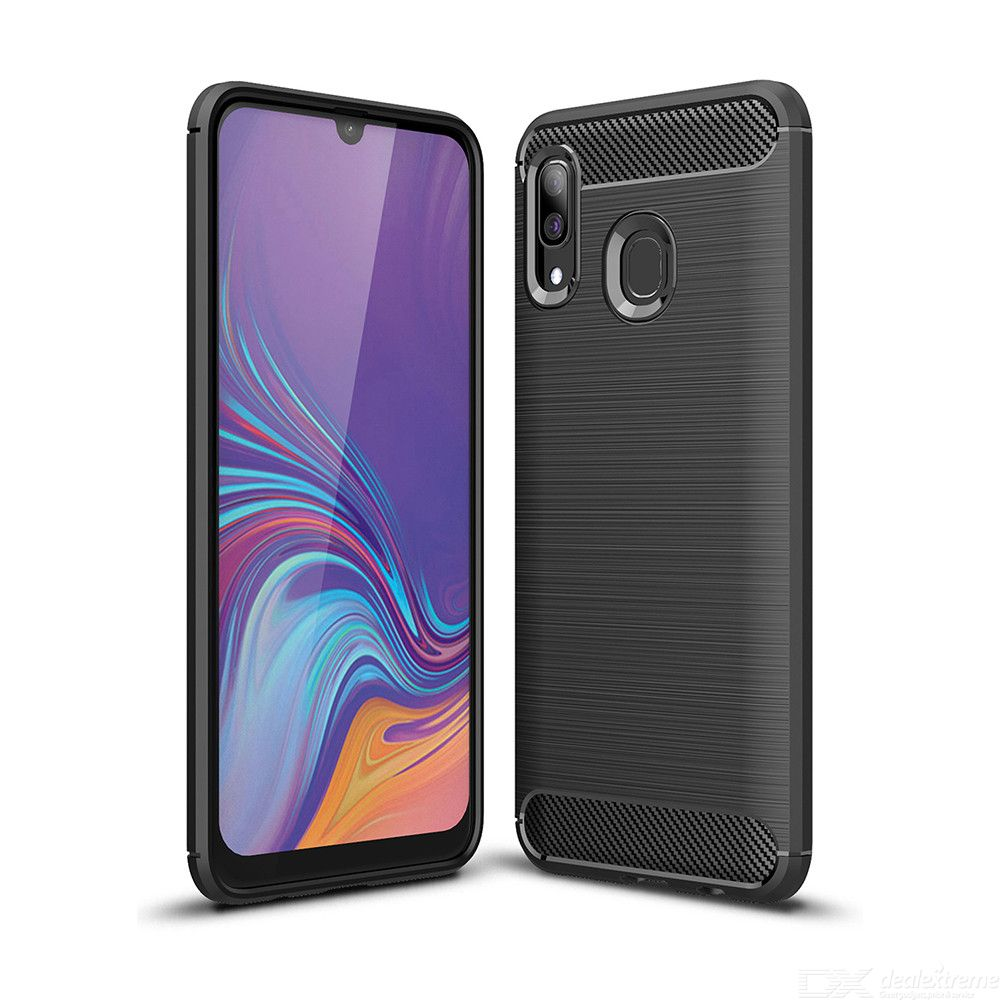 Naxtop Carbon Fiber Brushed Soft TPU Non-slip Back Cover Case Protective for Samsung Galaxy A20