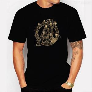 Casual O-Neck T-Shirt Short-Sleeved Print Tees Cotton Top For Men - Black